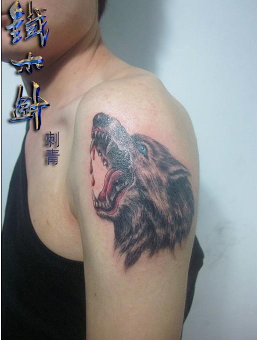 纹身手臂狼头 男手臂纹身狼头 小手臂纹身狼头图片