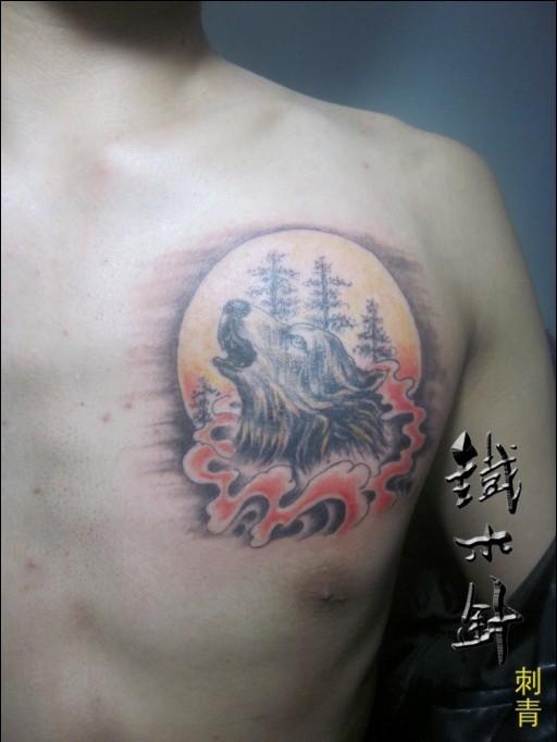 武汉纹身铁木针刺青男性胸前狼头纹身图案 (512x682)