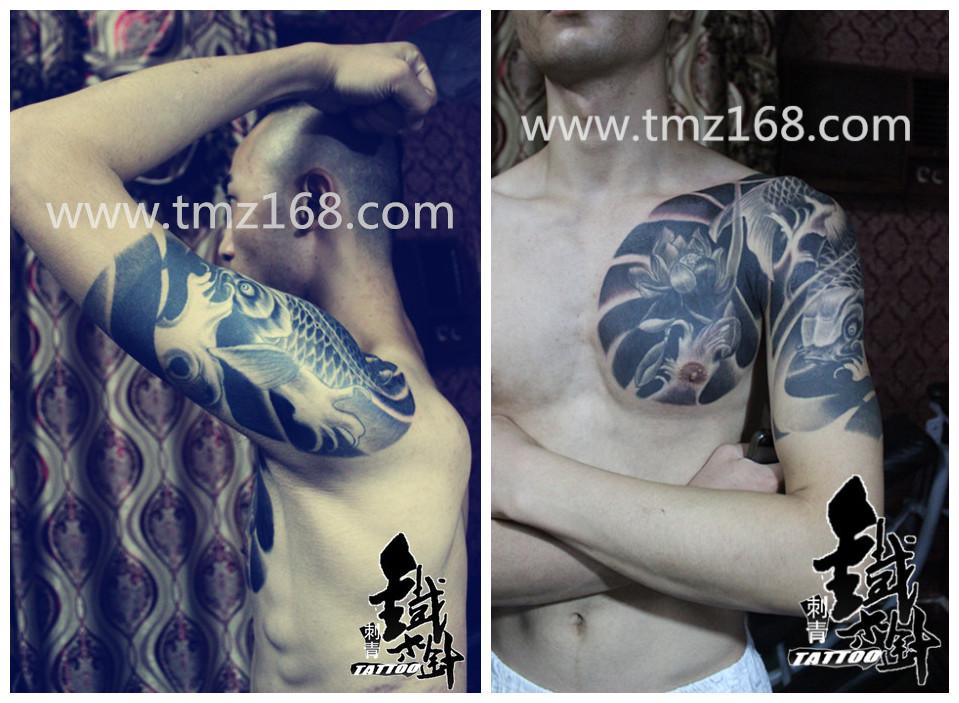 荷花纹身鲤鱼纹身英文纹身原创半胛纹身图案