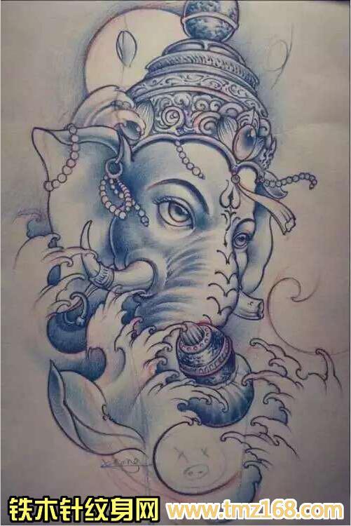 大象纹身图案满背个性大象神纹身图片