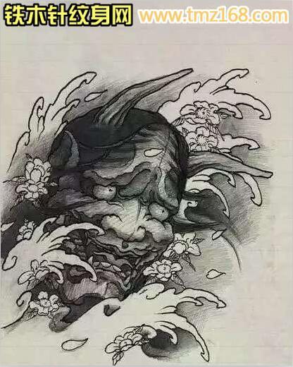 浪花樱花般若精品纹身手稿定制武汉纹身铁木针刺青
