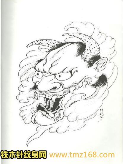 白描线稿般若精品纹身手稿定制武汉纹身铁木针刺青江图片