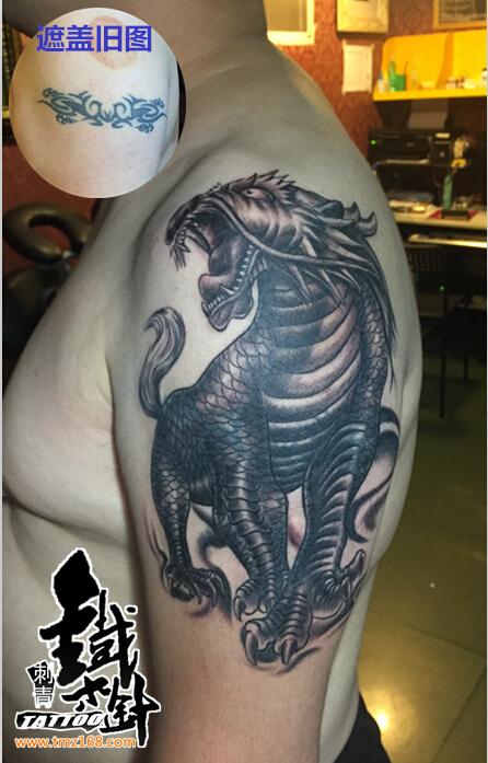 原创麒麟纹身图案男生手臂纹身图案遮盖 (446x697)-爱情纹身图案图片