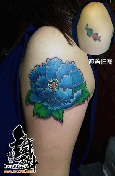 武汉纹身原创女生纹身图案花纹身图案彩色纹身牡丹花