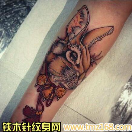 兔子野兔铃铛精品纹身手稿定制武