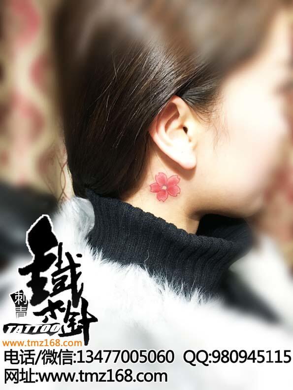 耳后水彩樱花小清新武汉纹身铁木针刺青江汉路纹身店