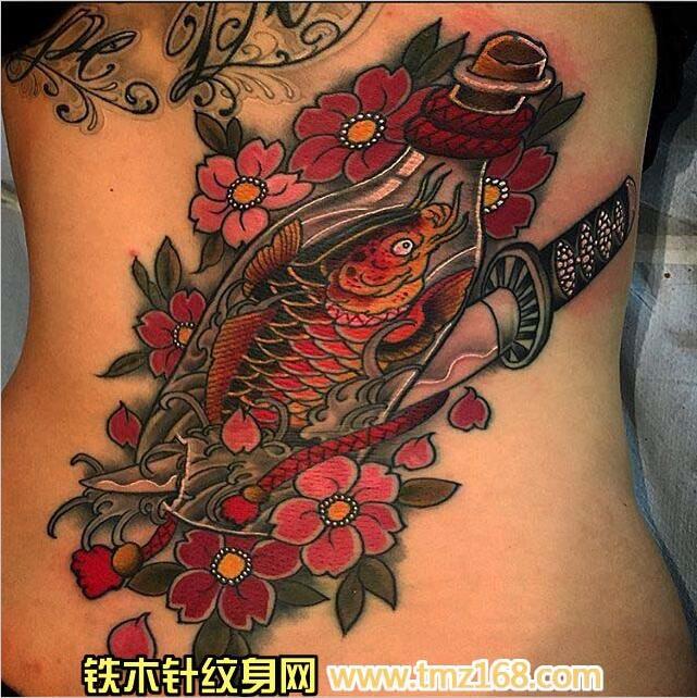 纹身图案 樱花鲫鱼纹身手稿 >