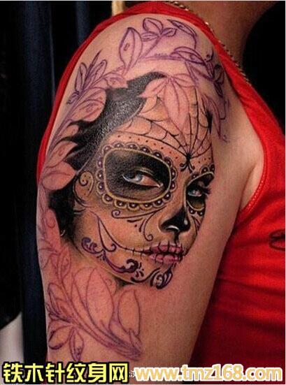 骷髅女郎美女头像武汉纹身铁木针刺青精品纹身手稿