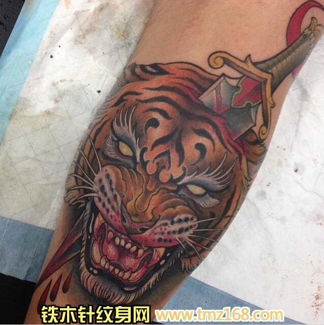 虎头像匕首武汉纹身铁木针刺青精品纹身手稿定制图案