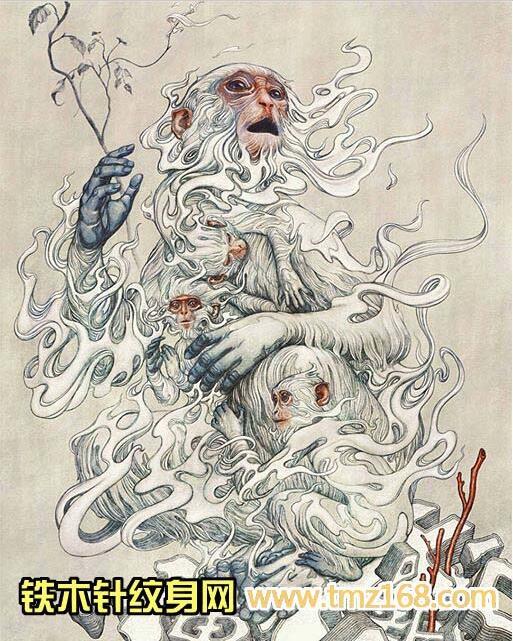 猴子武汉纹身铁木针刺青精品纹身手稿定制图案江汉路