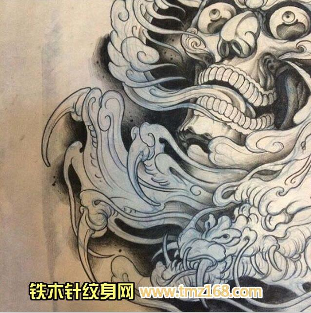 嘎巴拉花腿纹身手稿分享展示图片