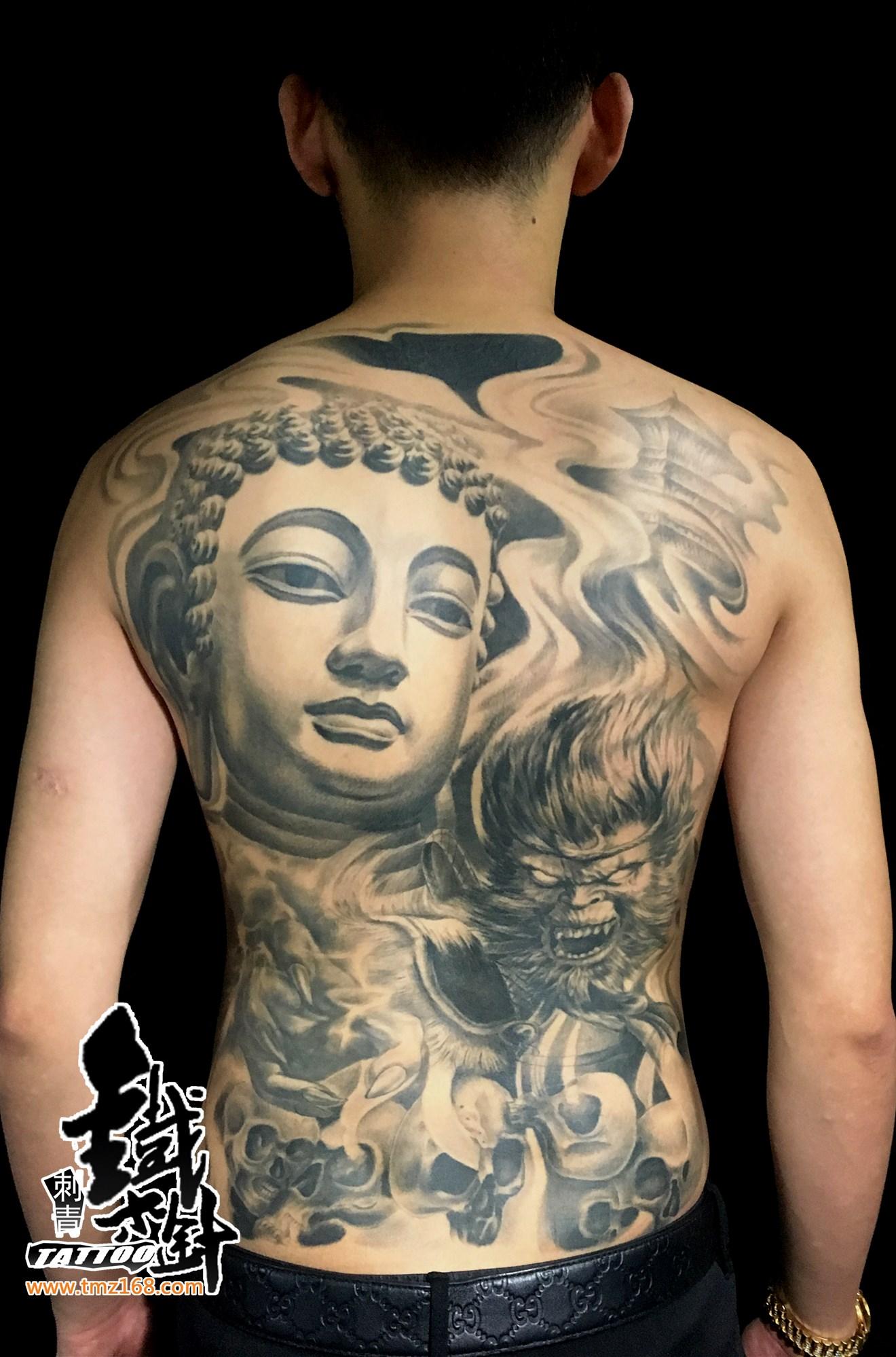 如来纹身满背纹身孙悟空纹身斗战胜佛纹身图案铁木针刺青私人订制纹图片